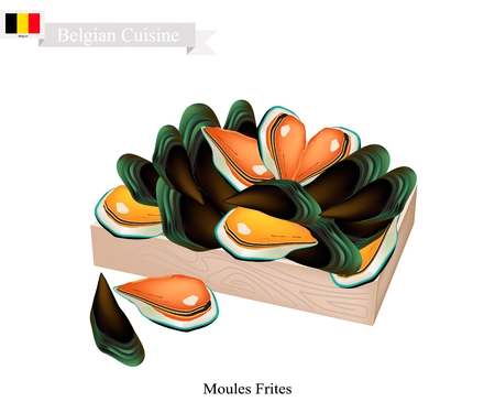 Belgian Cuisine, Illustration of Moules Frites or Traditional Steamed Mussels.