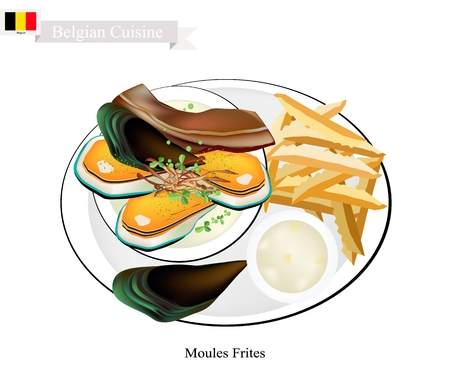 Belgian Cuisine, Illustration of Moules Frites or Traditional Steamed Mussels and French Fries.