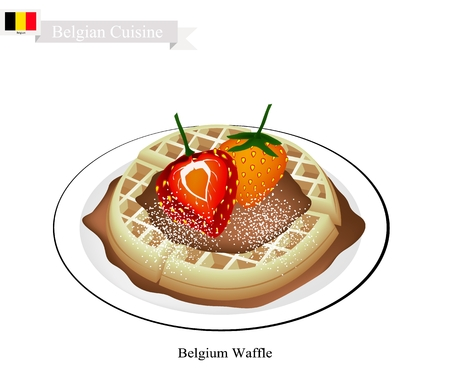 Belgian Cuisine, Belgium Waffle or Traditional Round Waffle Topped with Strawberries and Syrup. One of Tha Most Popular Dessert of Belgium. Illustration