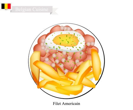 Belgian Cuisine, Illustration of Fillet Americain or Traditional Steak Tartare. One of The Most Famous Dish in Belgium. Illustration