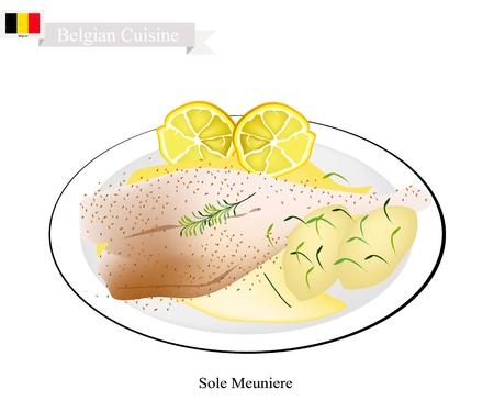 Belgian Cuisine, Illustration of Sole Meuniere or Traditional Sole Fish Fillet Fried in Butter and Served with Butter Sauce, Parsley and Lemon. One of The Most Famous Dish in Belgium. Vector Illustration