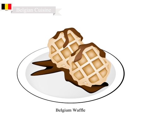Belgian Cuisine, Belgium Waffle or Traditional Round Waffle Topped with Syrup. One of The Most Popular Dessert of Belgium.