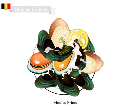 Belgian Cuisine, Illustration of Moules Frites or Traditional Steamed Mussels Illustration