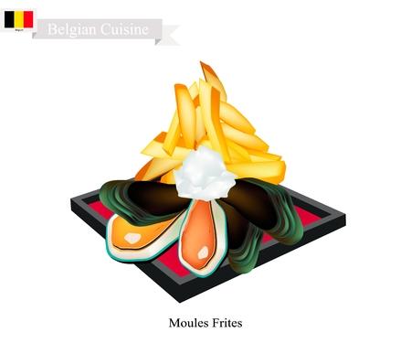 Belgische keuken, illustratie van Moules Frites of traditionele gestoomde mosselen en friet. Het nationale gerecht van België. Stock Illustratie