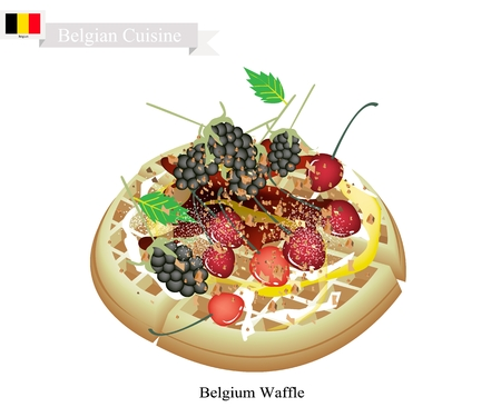 Belgian Cuisine, Belgium Waffle or Traditional Round Waffle Topped with Blackberries, Cherries, and Syrup. One of The Most Popular Desserts of Belgium.