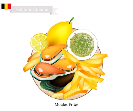 Belgian Cuisine, Illustration of Moules Frites or Traditional Steamed Mussels and French Fries. The National Dish of Belgium.  イラスト・ベクター素材
