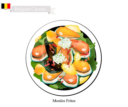 Belgian Cuisine, Illustration of Moules Frites or Traditional Steamed Mussels Usually Served with French Fries and Garlic Sauce. The National Dish of Belgium.