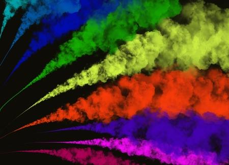 Elegante bevriezen beweging van abstracte kleurrijke rook of poeder exploderende op zwarte achtergrond met kopie ruimte voor tekst ingericht Stockfoto - 89779261
