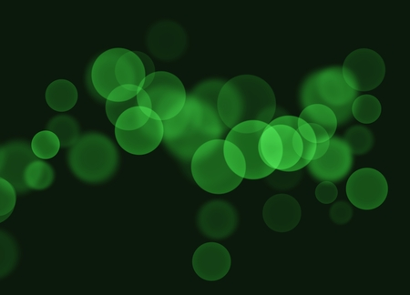 Elegant Template of Transparent Green Bokeh Soap Bubbles on Abstract Black Background with Copy Space for Text Decorated