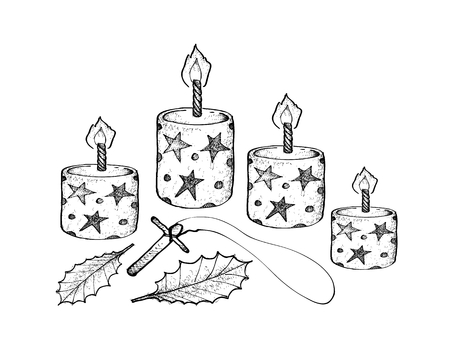 Four Christmas Candles with Holly Leaves and Wooden Cross, Symbolise The Light of God Coming into The World Through The Birth of His Son, Jesus. 일러스트