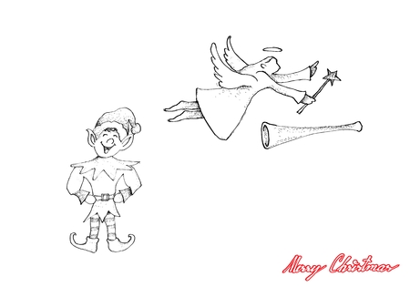 Illustration Hand Drawn Sketch of Cute Angel with Trumpet and Elf for Decorative on Christmas Tree.