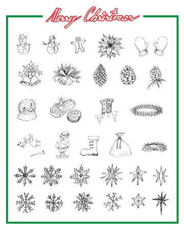 Illustration Hand Drawn Sketch Collection of Various Lovely Christmas Elements and Decorations Items, Sign For Xmas Celebration Event. Imagens - 91704403