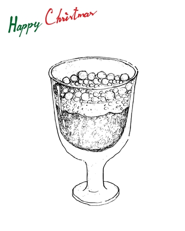 Illustration Hand Drawn Sketch of Julmust or Soft Drink Made of Carbonated Water, Sugar, Hop Extract, Malt Extract, Spices, Caramel Colouring, Citric Acid and Preservatives for Christmas in Sweden.  Illustration
