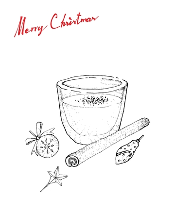 Illustration Hand Drawn Sketch of Eggnog or Egg Milk Punch Made with Milk, Cream, Sugar, Whipped Egg Whites, Egg Yolks, Cinnamon and Grated Nutmeg for Christmas Season. Stock Illustratie