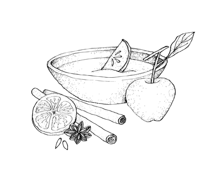 Illustration Hand Drawn Sketch of Wassail or Traditional Drink Made of Cider, Brandy, Apples and Spices for Christmas Season. Illustration