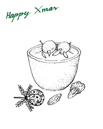 Illustration Hand Drawn Sketch of Ris a la Mande, Risalamande or Rice Pudding Mixed with Whipped Cream, Vanilla and Chopped Almonds Served with Cherry Sauce, A Traditional Danish Dessert Served at Christmas.