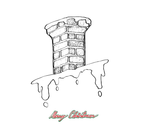 Illustration Hand Drawn Sketch of Chimney Pipe on The Roof Waiting for Santa Claus Coming to Home with Gifts, Sign for Start Christmas Celebration. Illustration