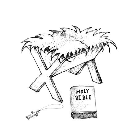 キリスト教のシンボル、聖書と木製の飼い葉桶の描かれたスケッチのクロスの図手白い背景に分離されたクリスマスのお祝いにサインアップします