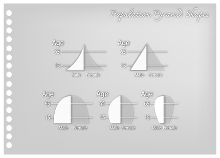 Population and Demography, Illustration Paper Art Craft Set of 5 Types of Population Pyramids Charts or Age Structure Graphs.