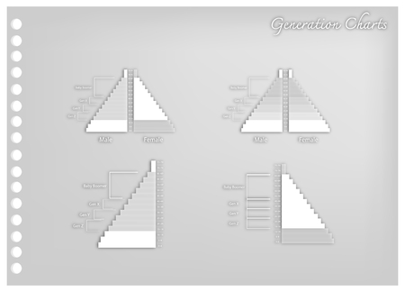 Population and Demography, Illustration Paper Art Craft of Population Pyramids Charts or Age Structure Graphs with Baby Boomers Generation, Gen X, Gen Y and Gen Z. Illustration