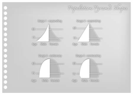 Population and Demography, Illustration Paper Art Craft Set of  4 Types of Population Pyramids Charts or Age Structure Graphs.