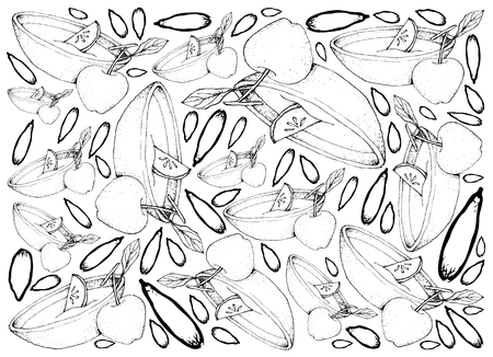 Background Illustration Hand Drawn Sketch of Wassail or Traditional Drink Made of Cider, Brandy, Apples and Spices for Christmas Season.