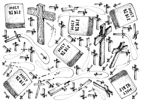 Background Illustration Hand Drawn Sketch of Covered Bible with Wooden Cross, Sign For Xmas Celebration Event.