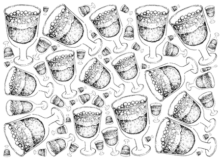 Background Hand Drawn Sketch of Julmust or Soft Drink Made of Carbonated Water, Sugar, Hop Extract, Malt Extract, Spices, Caramel Colouring, Citric Acid and Preservatives for Christmas in Sweden. Illustration