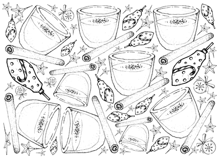 Background Illustration Hand Drawn Sketch of Eggnog or Egg Milk Punch Made with Milk, Cream, Sugar, Whipped Egg Whites, Egg Yolks, Cinamon and Grated Nutmeg for Christmas Season. Stock Illustratie