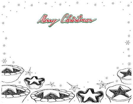 Illustration Frame of Hand Drawn Sketch of A Traditional Christmas Mince Pies Filled with A Mixture of Dried Fruits and Spices Served During The Christmas Season. Çizim