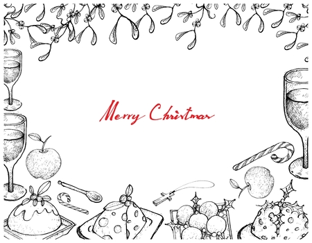 Illustration Frame of Hand Drawn Sketch of Christmas Pudding with Apple, Wine and Candy Cane on A Table for Thanksgiving, Christmas and New Year Holiday Dinner. Vettoriali