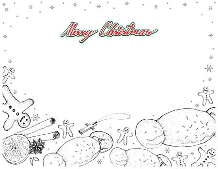 Illustratie Hand getrokken schets van traditionele Gingerbread Man Cookies met Cougnou of brood van Jezus gevormd als een baby Jezus gegeven aan kinderen op Kerstmis en St. Martin's Day. Stock Illustratie
