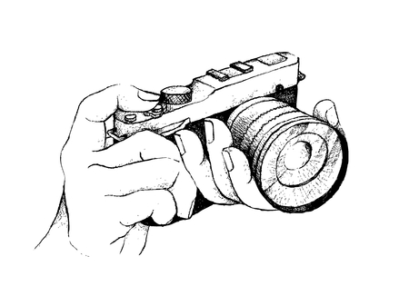 Illustration of Hand Drawn Sketch of Photographer To Take A Picture By Professional Modern Digital Camera Isolated on A White Background.