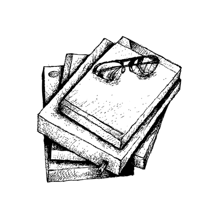 Illustration of Hand Drawn Sketch Pile of Books with Glasses Isolated on White Background. Illustration