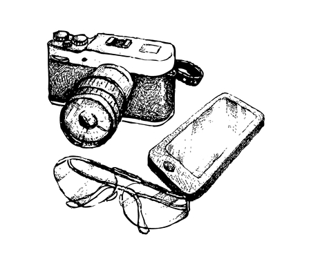Illustration of Hand Drawn Sketch Digital Camera and Glasses with Cellular Phone or Mobile Smart Phone Isolated on White Background.