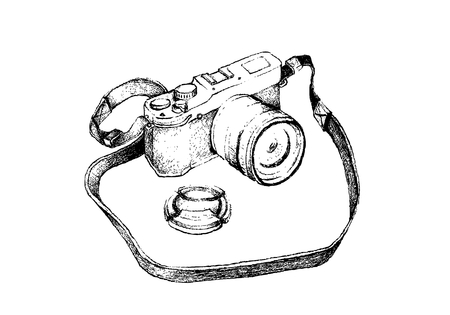 Illustration of Hand Drawn Sketch Professional Modern Digital Camera Isolated on A White Background.
