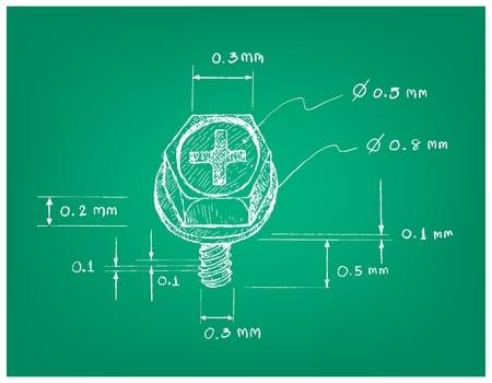 Manifattura e industria, Illustrazione disegnata a mano Dimensione schizzo della vite per computer corta a testa svasata con incasso a croce con parte superiore piatta. Elementi di fissaggio utilizzati per tenere insieme le parti della macchina.