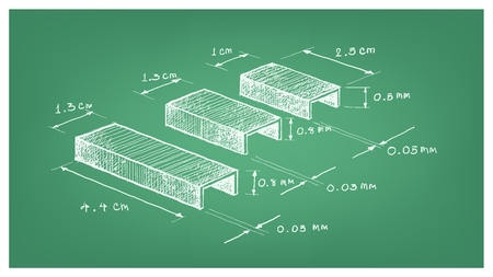 Office Supply, Illustration Hand Drawn Sketch Dimension of Staple Strip or Paper Staples Used with A Stapler to Attach Pieces of Paper Together. 向量圖像