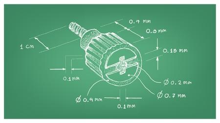 Produzione e industria, illustrazione disegnata a mano dimensione schizzo della vite a testa zigrinata del computer corto a testa svasata con incasso a croce Elementi di fissaggio utilizzati per tenere insieme le parti della macchina.