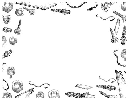 Manufacturing and Industry, Illustration Frame of Hand Drawn Sketch of Countersunk Head Screw, Sleeve Anchor and Keychain or Key Ring on Whtie Background.