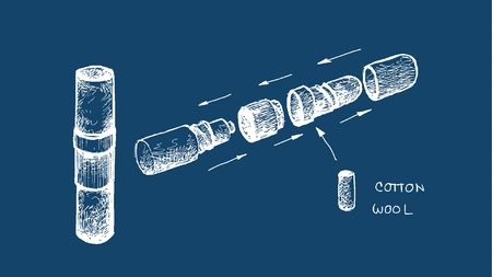 Health Care and Medical, Illustration Hand Drawn Sketch Dimension of Thai Aromatic Herbal Inhaler or Nasal Sticks Made From Cotton Wool Soaked in Essential Oils of Natural Herbs for Clear A Stuffy Nose with Relaxation and Stress Relief. 일러스트