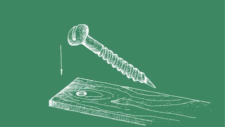 Manifattura e industria, Illustrazione disegnata a mano Dimensione schizzo della vite per legno a testa svasata con incasso a croce e parte superiore piatta. Utilizzato per collegare il legno all'oggetto.