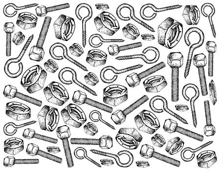 Herstellung und Industrie, Illustration Hand gezeichnete Skizze Tapete Hintergrund von Augenverzögerungen, Sechskantschrauben und Kontermuttern mit Nyloneinsatz. Eine Art von Befestigungselement, mit dem Materialien miteinander verbunden werden.