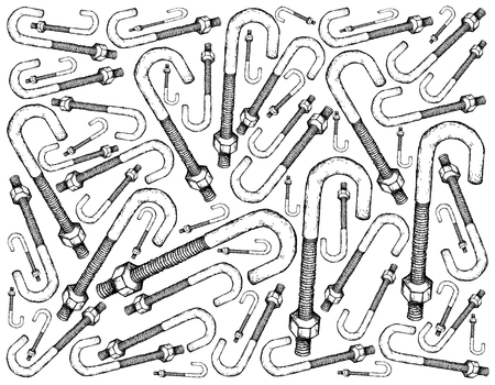 Manufacturing and Industry, Illustration Hand Drawn Sketch Wallpaper Background of J Bolt or Anchor Bolt. A Fastener Used to Attach Objects or Structures to Stone, Concrete and Masonry.