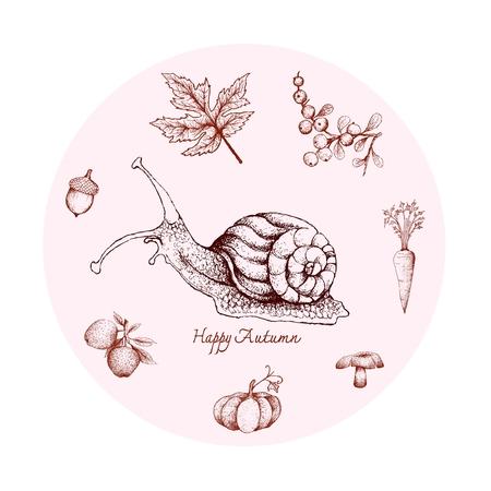 Herbsttier, Illustration Hand gezeichnet von Schnecke mit Beeren, Apfel, Karotte, Pilz, Kürbis, Eichel und Ahornblatt. Symbolisches Tier, um die Zeichen der Herbstsaison zu zeigen.