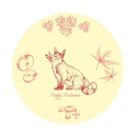 Autumn Animal, Illustration Hand Drawn of Fox with Pine Leaves, Maple, Mushrooms and Apples. Symbolic Animal to Show The Signs of Autumn Season.