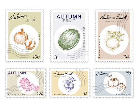 Autumn Fruits, Post Stamps Set of Hand Drawn Sketch Watermelon, Pomegranate, Kaki or Persimmon, Plum and Tallow Plum in Trendy Origami Deep Paper Art Carving Style. Stock Illustratie