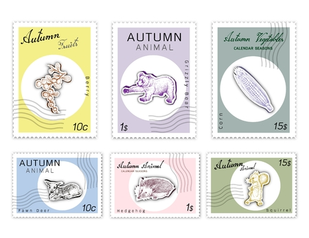 Autumn Animals and Plants, Post Stamps Set of Hand Drawn Sketch Sweet Corn or Maize, Berry, Squirrel, Grizzly Bear, Hedgehogon and Fawn Deer in Trendy Origami Deep Paper Art Carving Style.