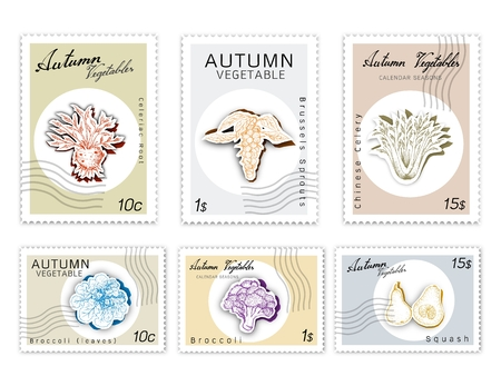 Autumn Vegetables, Post Stamps Set of Hand Drawn Sketch Brussels, Sprouts Broccoli, Broccoli, Butternut Squash, Celery and Celeriac Root in Trendy Origami Deep Paper Art Carving Style. Illustration
