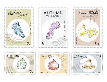 Autumn Vegetables, Post Stamps Set of Hand Drawn Sketch Green Soybean or Edamame, Celeriac, Garlic Chives or Allium Tuberosum, Onion and Shallot in Trendy Origami Paper Art Style. Vectores